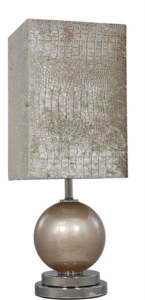 Taupe Pearl Globe Thistle Table Lamp Light Silver Base Taupe Faux Crocodile  Skin