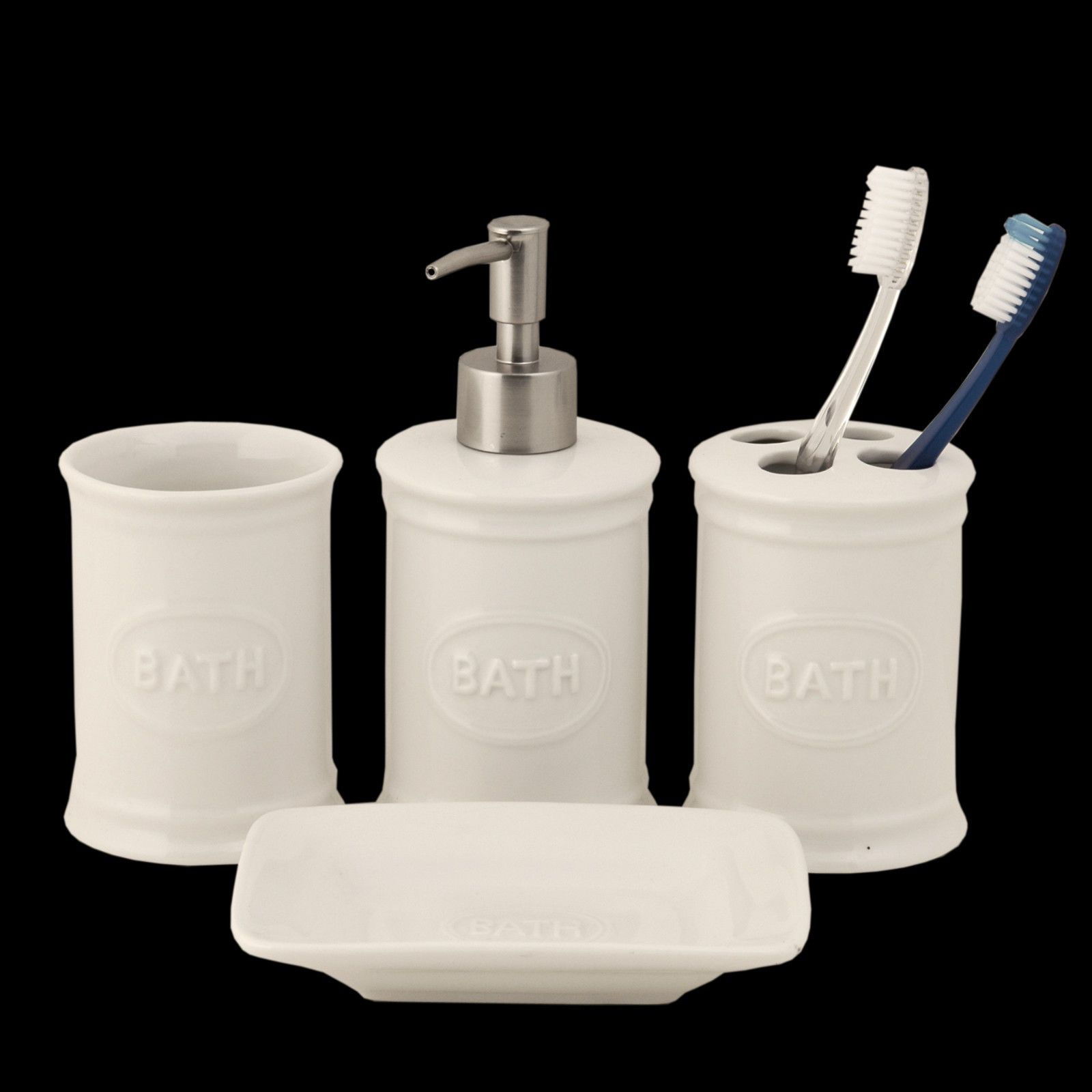 Bath Ceramic 4 Piece Bathroom Set W Soap Dispenser Dish Toothbrush