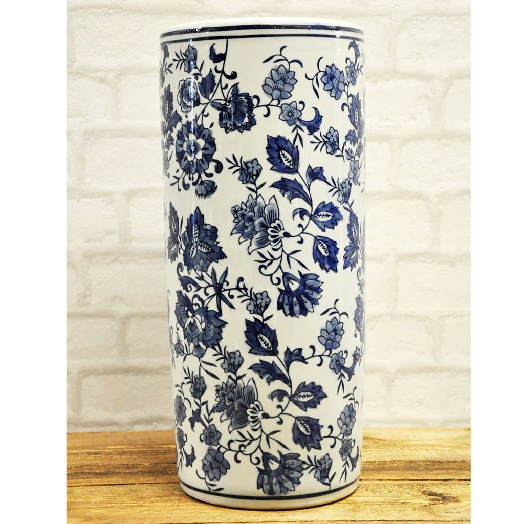 Chinese Style Blue White Fl Pattern Ceramic Umbrella Stand Stick Holder 18