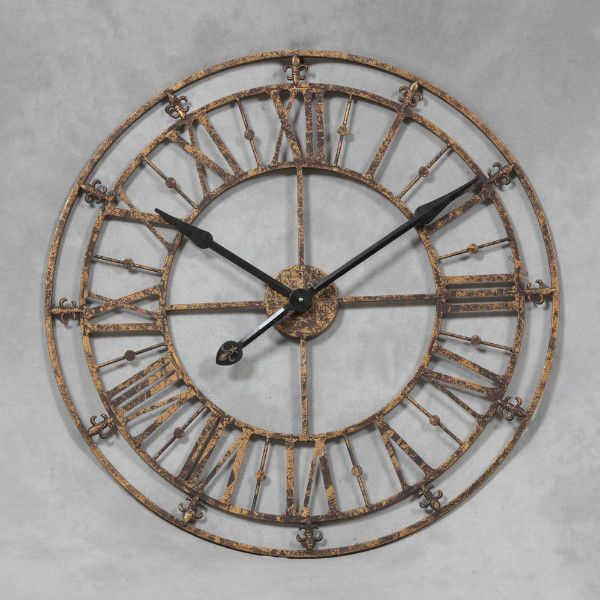 Extra Large 76cm Black Gold Metal Roman Numeral Wall Clock Shabby Chic Skeleton