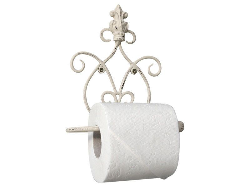 French Vintage Chic Bathroom Crown Toilet Roll Holder Antique White