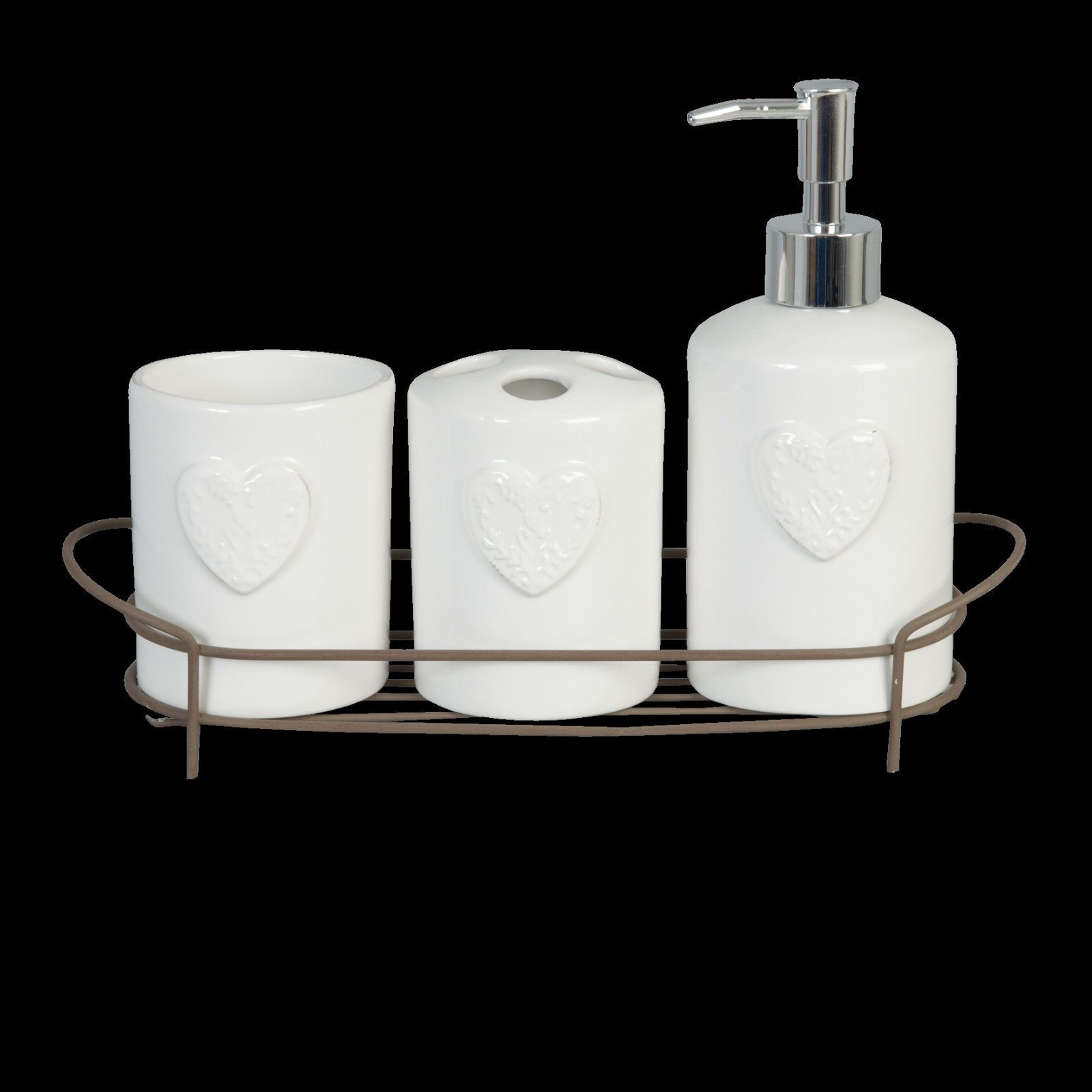 Heart Design Ceramic Bathroom Set W Soap Dispenser Toothbrush Holder Cup
