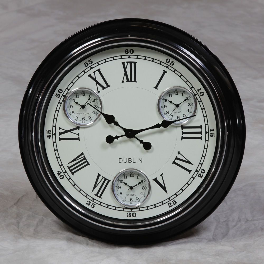 Large Black With White Face Multi Dial Time Zone Wall Clock 50cm