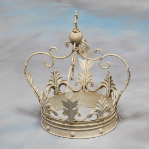 Large Decorative Antiqued Cream Iron Crown Ornament Gift