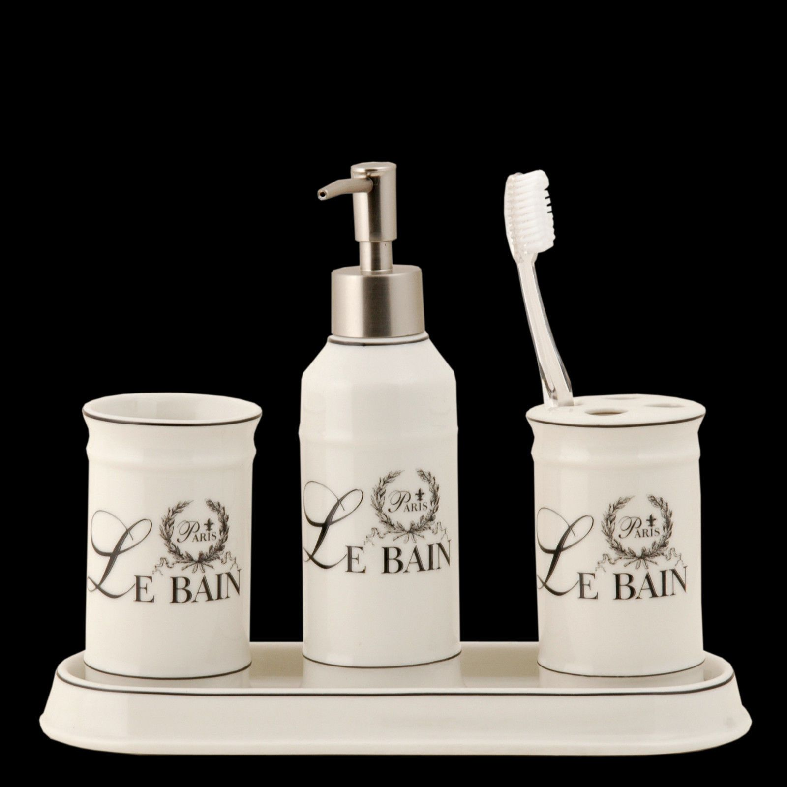 Le Bain Ceramic 4 Piece Bathroom Set W Soap Dispenser Toothbrush