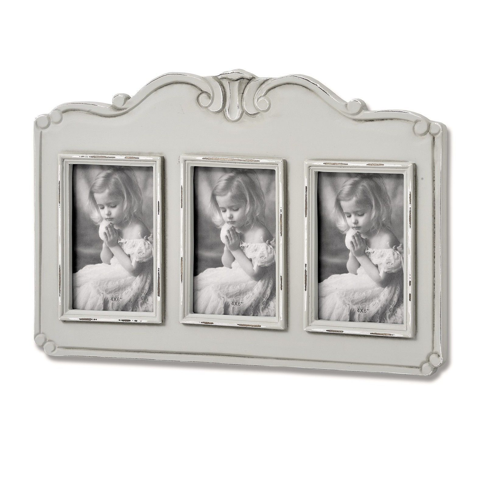 Parisienne Grey Shabby Chic 3 Picture Wooden Wall Photo Frame