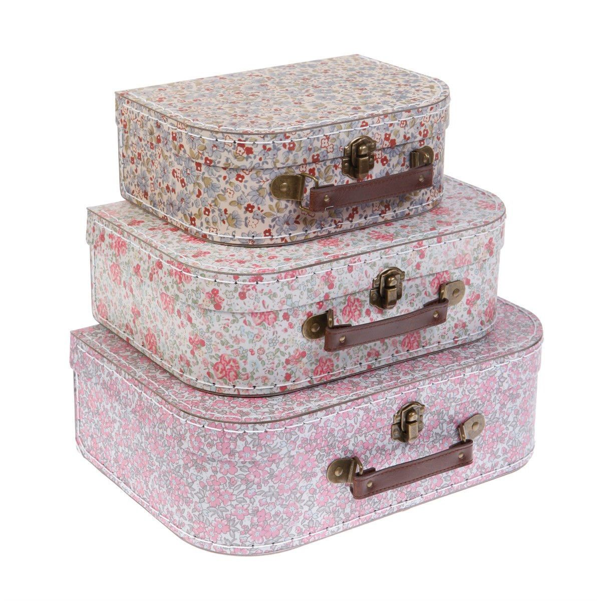 Set Of 3 Decorative Vintage Ditsy Floral Suitcases Storage