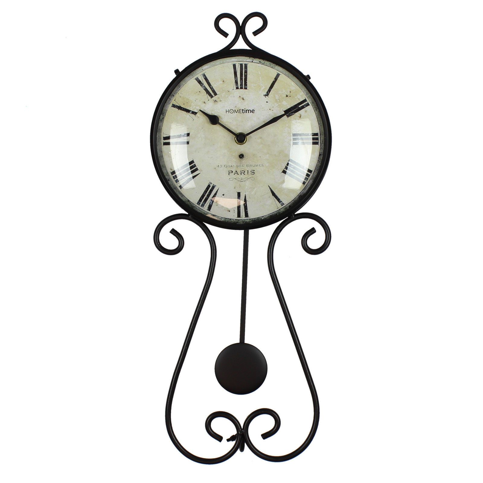 Vintage Style Metal Black Scroll Wire Pendulum Wall Clock