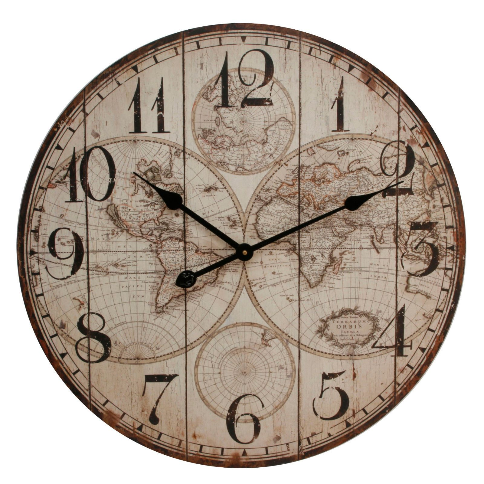 Vintage style wooden panel world map round wall clock 60cm w arabic dial back vintage style wooden panel world map gumiabroncs Images
