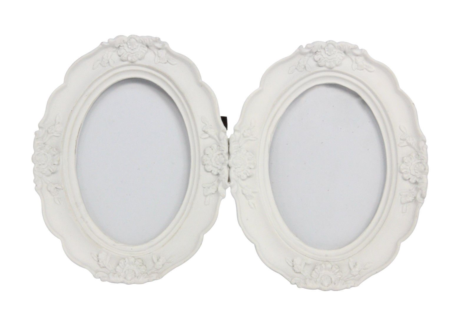 White Twin Double Ornate Oval Picture Photo Frame for Photo 2.5x3.5